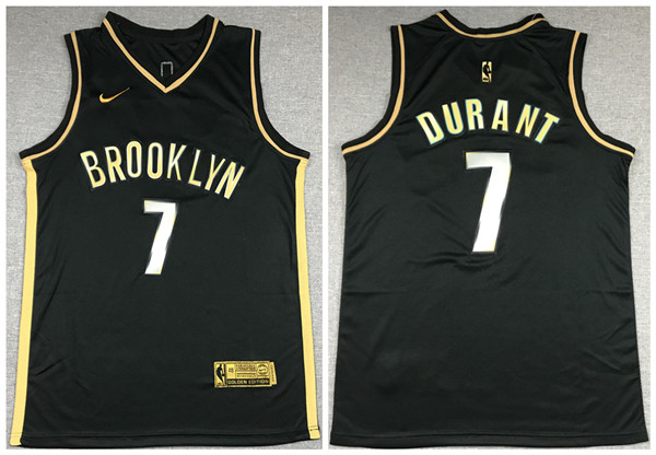 Men's Brooklyn Nets #7 Kevin Durant 2020 Black Gold Edition Basketball Jersey