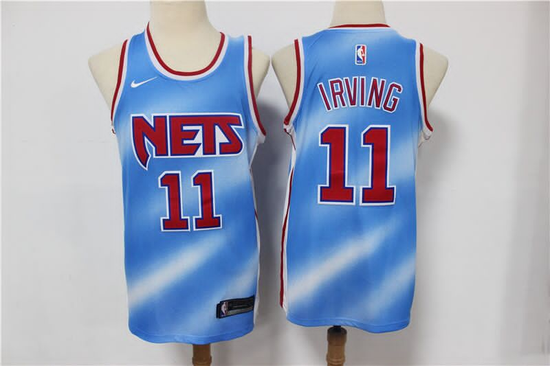 Men's Brooklyn Nets White #11 Kyrie Irving 2020 21 Blue Basketball Jersey