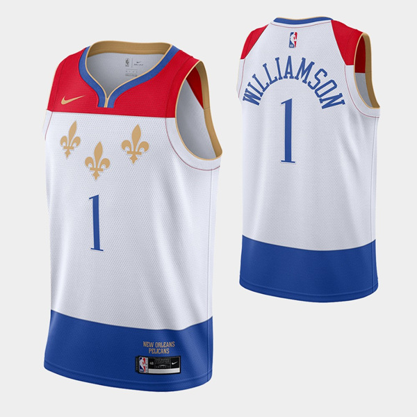 Men's New Orleans Pelicans #1 Zion Williamson White City Edition New Uniform 2020-21