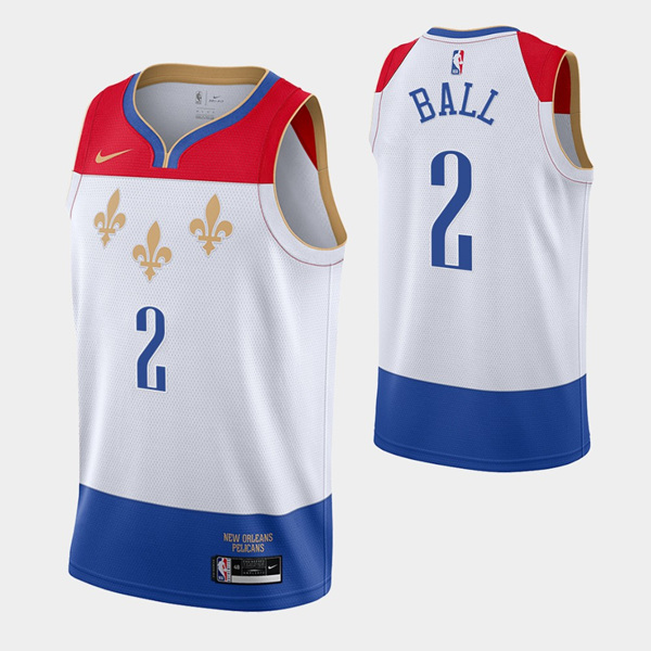 Men's New Orleans Pelicans #2 Lonzo Ball White City Edition New Uniform 2020-21 Basketball Jersey