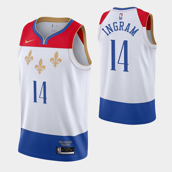 Men's New Orleans Pelicans #14 Brandon Ingram White City Edition New Uniform 2020-21