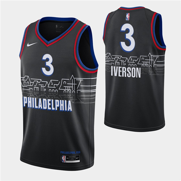 Men's Philadelphia 76ers #3 Allen Iverson Black City Swingman 2020-21 Basketball Jersey
