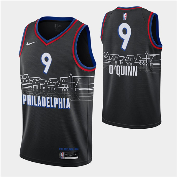 Men's Philadelphia 76ers #9 Kyle O'Quinn Black City Swingman 2020-21 Basketball Jersey