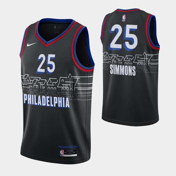 Men's Philadelphia 76ers #25 Ben Simmons Black City Swingman 2020-21 Basketball Jersey